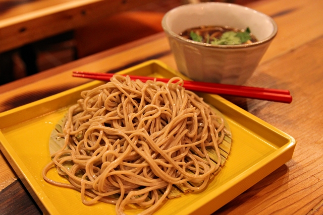 Truffle Kinako: cold soba with hot dipping soup of mushrooms and black truffle oil