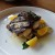 "Grilled Spanish mackerel with baby artichokes, navel orange, and olive tapenade. Nice portion, nicely prepared, with nice flavors. But made me look at the Seattle Times' website for SRW, where the dish is listed as mackerel instead of Spanish mackerel. ""Regular"" mackerel is known as saba in Japan, where saba shio (grilled salted mackerel) is a popular dish. I think I actually prefer saba (and aji, which is horse mackerel in Japanese) to Spanish mackerel (sawara in Japan), as it's more oily and more ""fishy,"" whereas this Spanish mackerel might appeal more to many Westerners. (I'm glad to see any mackerel on an American menu.)"