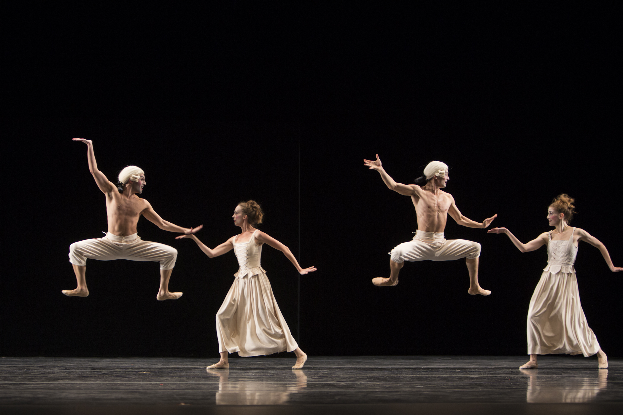 (L-R) Pacific Northwest Ballet company dancers Jonathan Porretta, Kylee Kitchens, James Moore and Leah Merchant in Jiri Kylian's Sechs Tänze (Six Dances), presented as part of KYLIAN + PITE, November 8 – 17, 2013.  Photo © Angela Sterling.