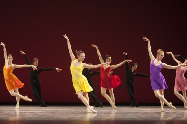 Pacific Northwest Ballet principal dancer Kaori Nakamura (in yellow) with company dancers in Susan Stroman's TAKE FIVE…More or Less, being presented as part of DIRECTOR'S CHOICE, March 14 – 23, 2014.  Photo © Angela Sterling.