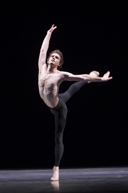 Pacific Northwest Ballet corps de ballet dancer Matthew Renko in Molissa Fenley's State of Darkness, being presented as part of DIRECTOR'S CHOICE.  Four PNB company dancers will perform Fenley's tour-de-force solo during the run of DIRECTOR'S CHOICE, March 14 – 23, 2014.  Photo © Angela Sterling.