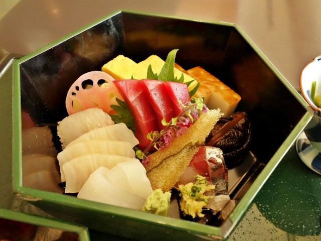 Sashimi as part of the Special Chirashi Sushi at omborato