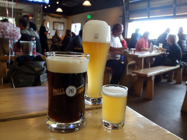 Sampling beer at Prost Brewing Company