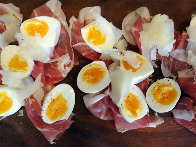 Prosciutto and eggs upon arrival to Stoneburner