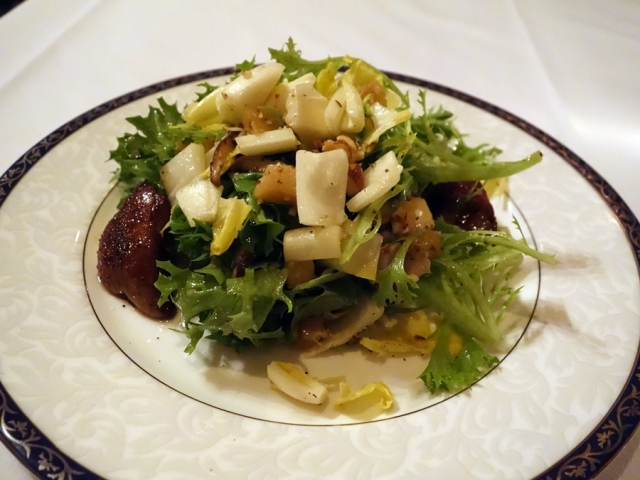 EDWINS' salad of endive, local field greens, roasted apples, shiitake mushrooms, almonds, and foie gras with apple cider vinaigrette