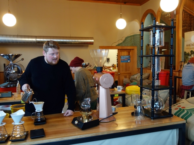 Making my pour-over at Rising Star Coffee Roasters