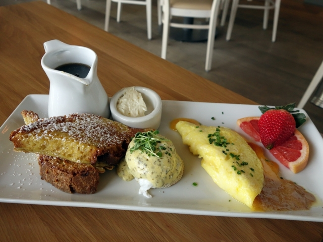 Chef's Trio breakfast: mini peanut butter and cheddar omelet, mini eggs benedict, and mini French toast