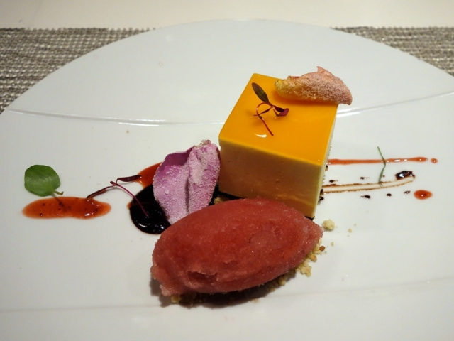 Passion fruit mousse with macadamia nut shortbread and rose-champagne sorbet