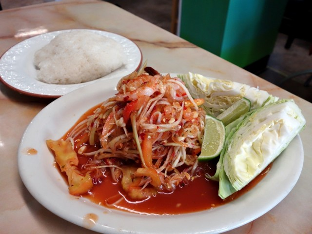Green papaya salad, which will wake up your senses