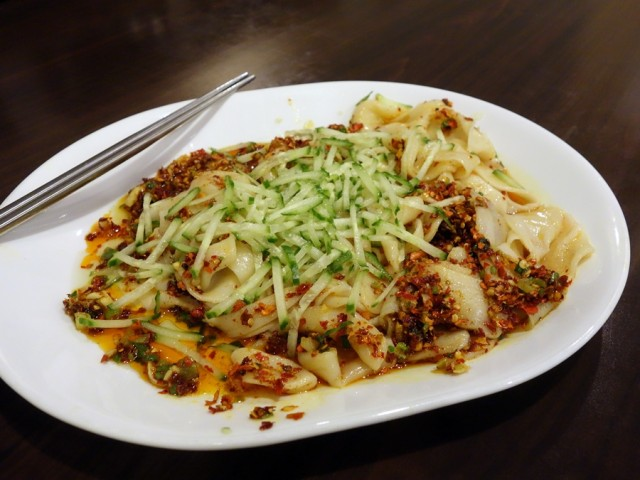 Handmade noodles in spicy sauce