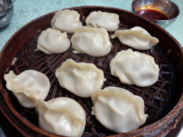 Xi'an-style soup dumplings (zheng jiao) filled with beef, spring onions, and onions
