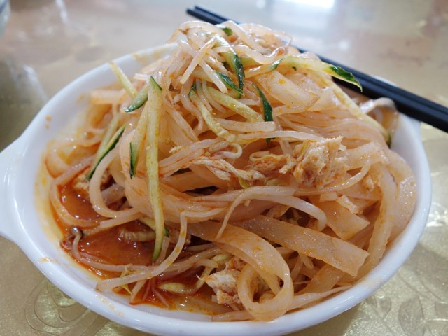 Liangpi, which can be made with rice flour or wheat flour