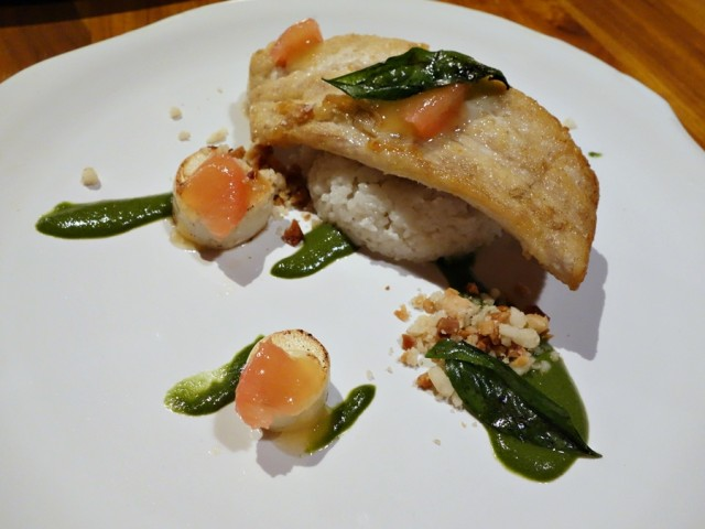 Kona kampachi with aromatic rice, hearts of palm, fresh green curry, and grapefruit-yuzu gel