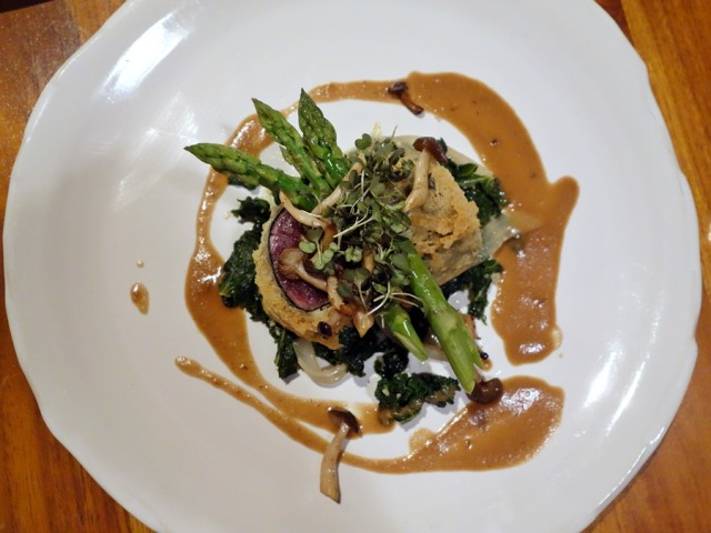Tempura ahi tuna with shimeji mushrooms, foie gras nage, asparagus, and smohered greens
