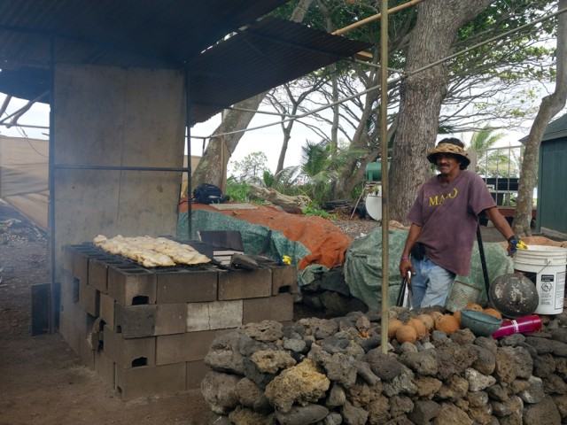 Just past Hana, preparing Huli Huli chicken