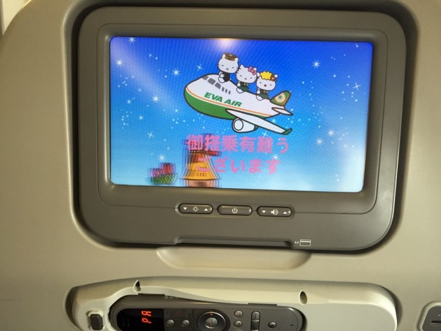 Everything about the plane (including the toilet paper!) screamed Hello Kitty