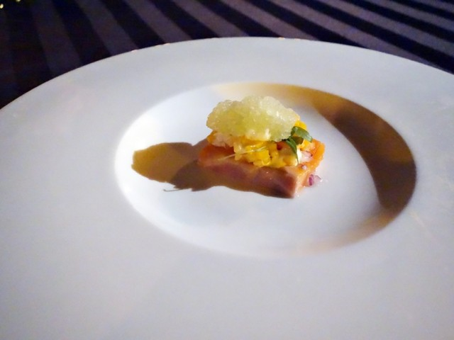 Amuse bouche to start tasting menu at Humuhumunukunukuapua'a: salmon with yuzu, Hawaiian chili, celery ginger shaved ice
