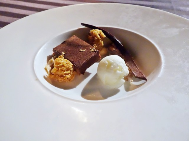"""Dessert at Humuhumunukunukuapua'a was this Chocolate Peanut 'Auka Kula (Gold Bar): """"peanut butter crispy and milk chocolate custard, candied nuts, crème fraiche sorbet and a touch of gold leaf"""""""