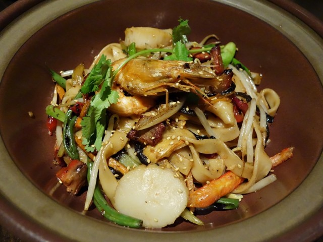 Better than the mahi mahi, and my favorite dish at Japengo, was this half-portion of China Town chow fun with char siu pork, day boat scallops, crab, Kaua'i shrimp, oyster sauce, and mushroom shoyu. Really delicious, making for two straight days of terrific chow fun!