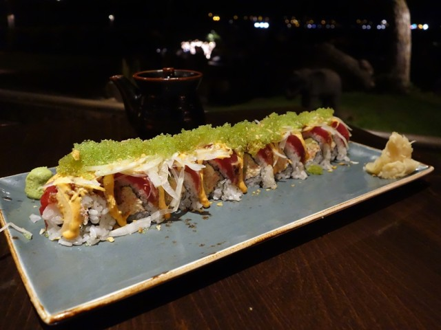 A requisite roll at Japengo: this blackened ahi roll has crab, avocado, and cucumber on the inside and blackened ahi, spicy mayo, Maui onion, ponzu, and wasabi tobiko on the outside