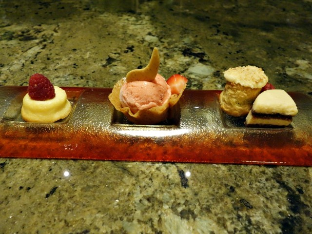Stuffed, but the Ko kitchen sent out a platter of their Ohana-style signature desserts. Pretty plate, with the Kula strawberry gelato being about as much as we could manage!