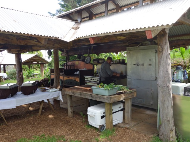 Outdoor kitchen at O'o Farm