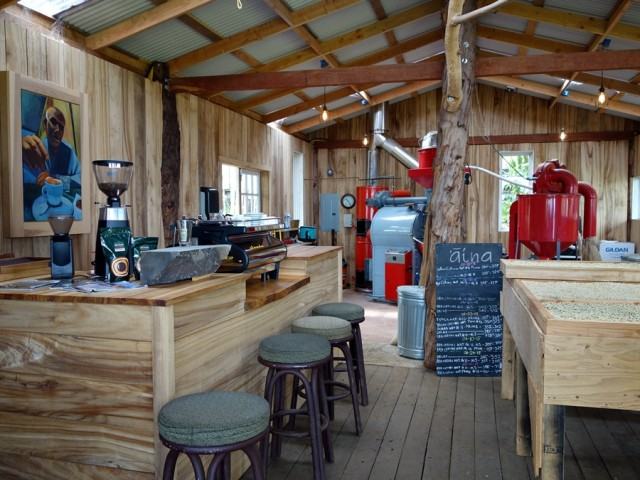 A look at the roasting machinery and espresso bar at O'o Farm