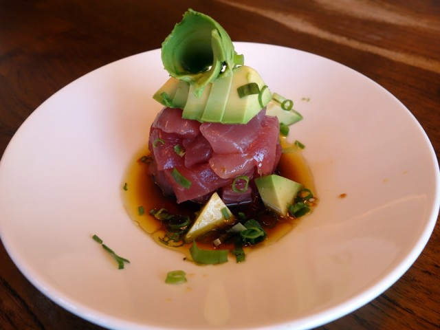 Star Noodle's ahi avo: ahi and avocado with lemon-pressed olive oil sambal, and usukuchi