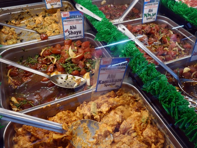 Nice selection of poke from Tamura's Fine Wine & Liquors