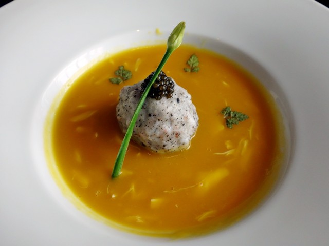 """The Pearl"" at YEN: pumpkin bisque with black truffle and crab-shrimp paste"