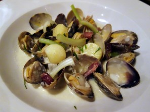Hitchcock: Manila clams with heirloom potatoes, bacon lardons, shallots, sweet cream, and celery