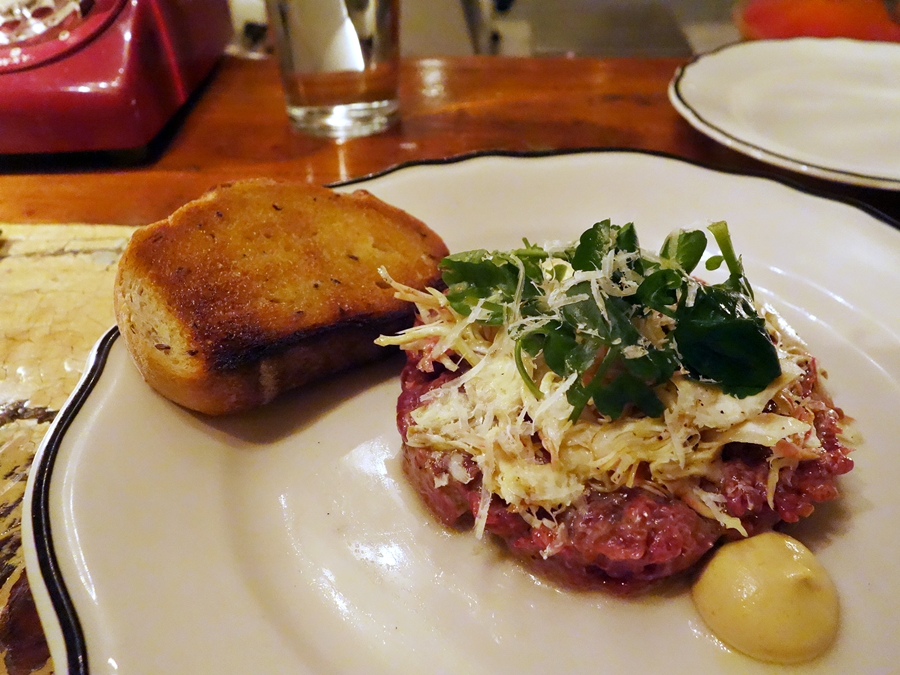 Horse tartare with artichokes and pecorino at Joe Beef. Fabulous flavor!