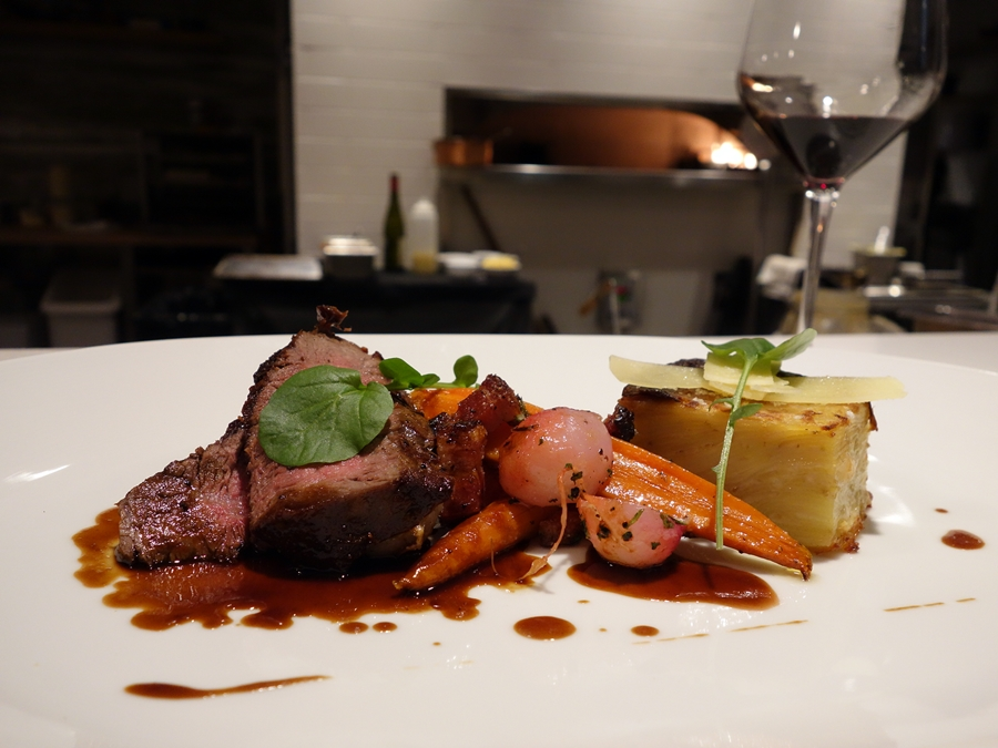 Double R Ranch filet with roasted local vegetables and bordelaise